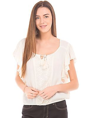 Aeropostale Flutter Sleeve Crop Top
