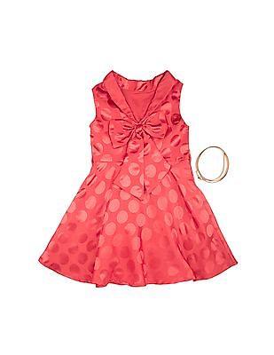 U.S. Polo Assn. Kids Girls Jacquard Polka Fit And Flare Dress