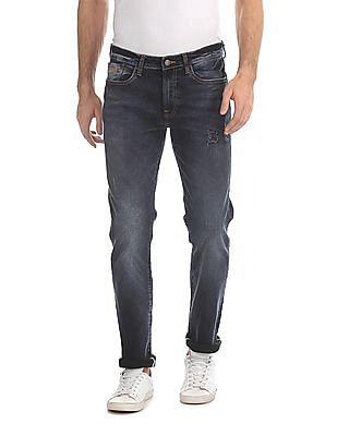 Aeropostale Blue Slim Straight Fit Distressed Jeans