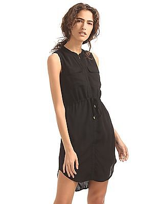 Elle Studio Mandarin Neck Shirt Dress