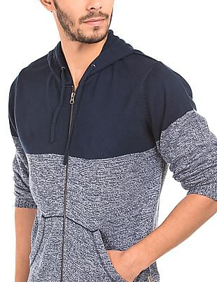 Flying Machine Colour Block Hooded Cardigan