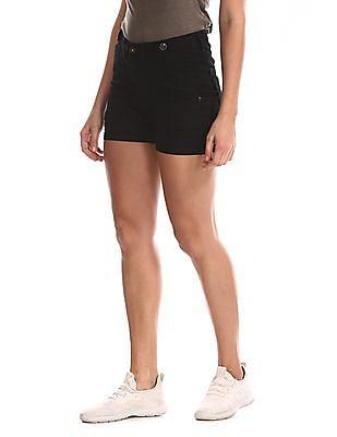U.S. Polo Assn. Women Black Solid Denim Shorts