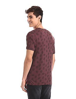 Cherokee Red Fern Print Crew Neck T-Shirt