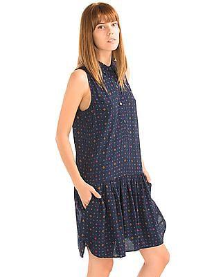 GAP Women Blue Print Drop Waist Dress