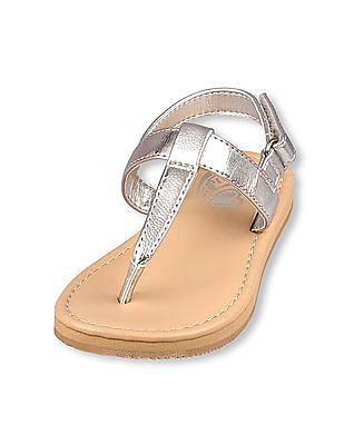 The Children's Place Toddler Girl Glitter T-Strap Slide Seaside Flip-Flops