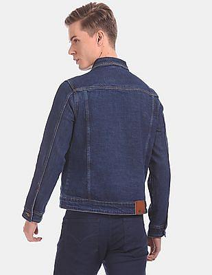 Flying Machine Men Blue Sleeve Tape Faded Denim Jacket