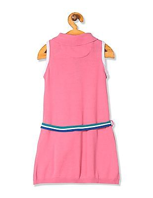 U.S. Polo Assn. Kids Girls Sleeveless Shirt Collar Sweater Dress