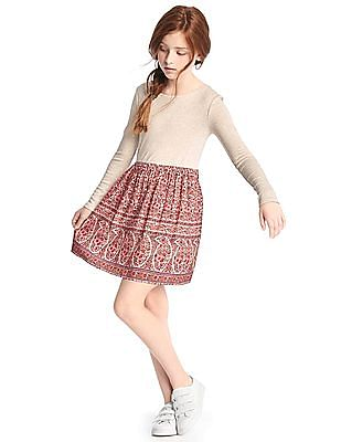 GAP Girls Floral Mix-Fabric Dress