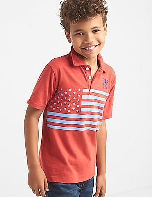 GAP Boys Americana Logo Slub Polo