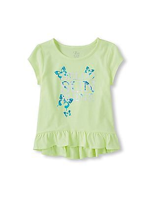 The Children's Place Girls Short Sleeve Embellished Hi-Low Ruffle Top