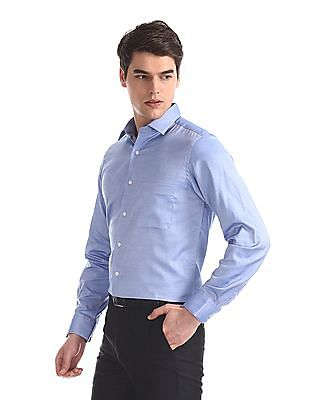 Arrow Blue French Placket Solid Shirt