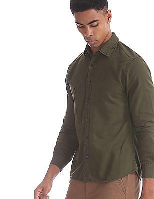 Cherokee Green Zip Pocket Solid Shirt