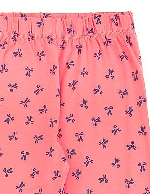 Cherokee Girls Bow Print Knit Leggings
