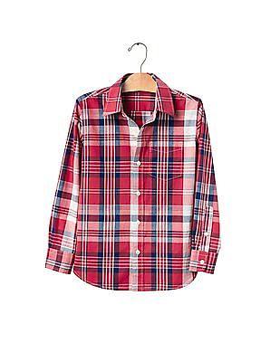 GAP Boys Plaid Long Sleeve Shirt