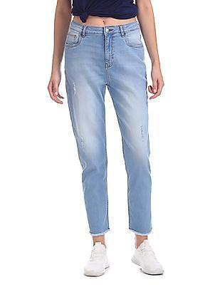 Flying Machine Women Mom Regular Fit Stone Wash Jeans