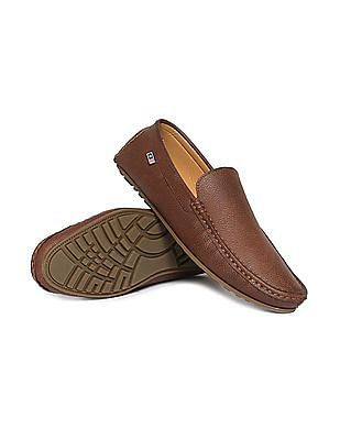 Arrow Textured Faux Leather Loafers