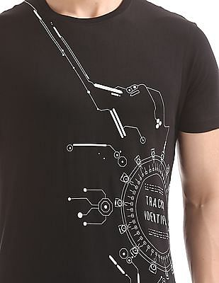 Flying Machine Printed Front Crew Neck T-Shirt