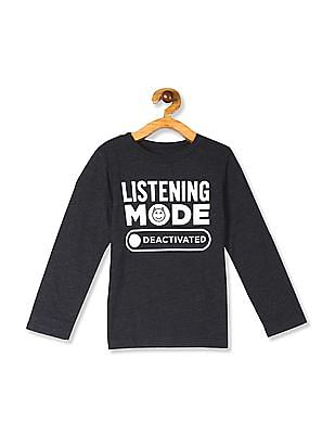 The Children's Place Grey Toddler Boy Long Sleeve 'Listening Mode Deactivated' Graphic Tee