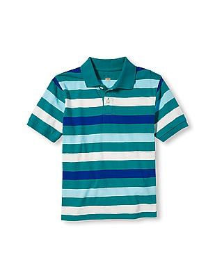 The Children's Place Boys Green Short Sleeve Striped Polo