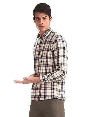 Arrow Sports Beige Mitered Cuff Check Shirt