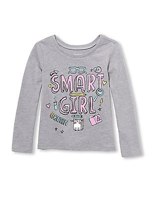 The Children's Place Baby And Toddler Girls Long Sleeve 'Smart Girl' Graphic Tee