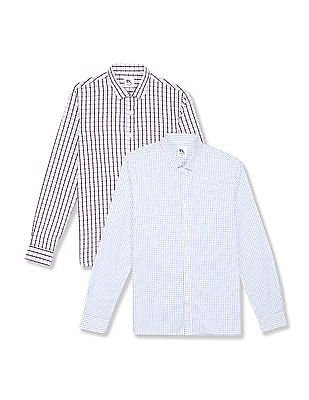 Excalibur Assorted Patch Pocket Checked Shirt - Pack Of 2