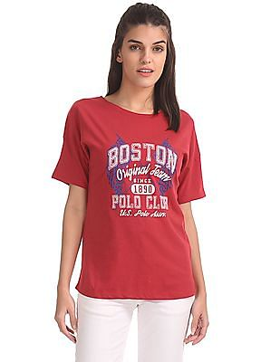 U.S. Polo Assn. Women Drop Shoulder Printed T-Shirt