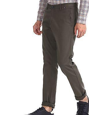 U.S. Polo Assn. Green Austin Trim Regular Fit Solid Trousers