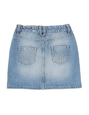 U.S. Polo Assn. Kids Girls Stone Wash Denim Skirt