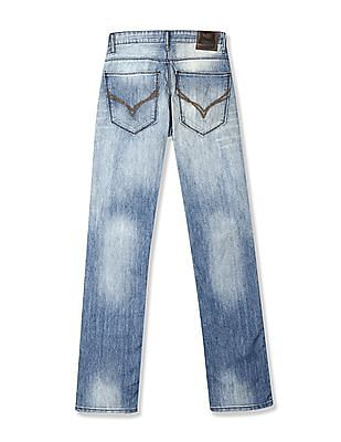 Flying Machine Eddie Slim Straight Fit Washed Jeans