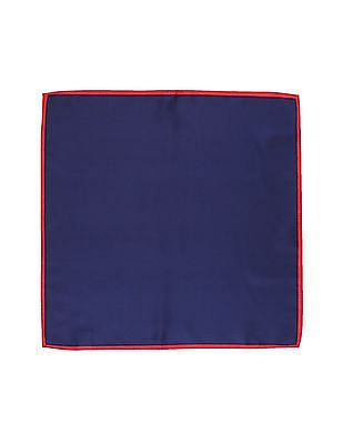 Arrow Blue Contrast Hem Solid Pocket Square