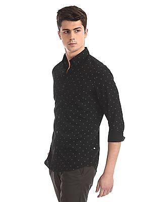 Arrow Sports Black Mitered Cuff Printed Shirt