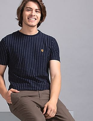 True Blue Blue Vertical Stripe Cotton Jersey T-Shirt