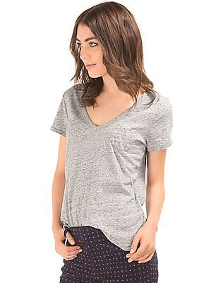 GAP Women Grey Vintage Wash Sueded V-Neck Tee