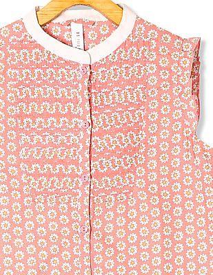 U.S. Polo Assn. Kids Girls Floral Print Flutter Sleeve Top