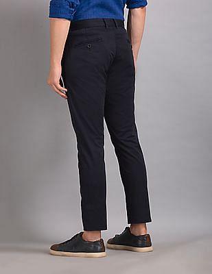 True Blue Blue Slim Fit Flat Front Trousers
