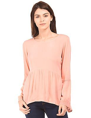 Cherokee Bell Sleeve Round Neck Top
