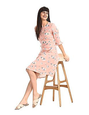 Elle Studio Pink Ruffle Sleeve Floral Print Dress