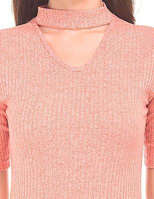 Cherokee Jewel Neck Ribbed Knit Top