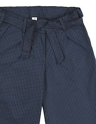 U.S. Polo Assn. Kids Girls Printed Belted Culottes
