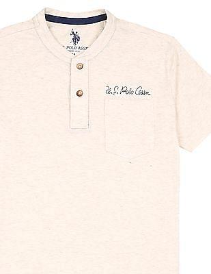 U.S. Polo Assn. Kids Boys Heathered Henley T-Shirt