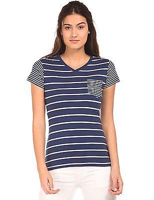 Cherokee Striped V-Neck T-Shirt