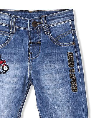 Donuts Boys Stone Wash Applique Patch Jeans
