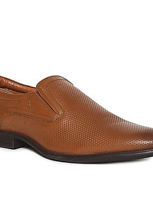 Arrow Brown Perforated Leather Slip-On Shoes