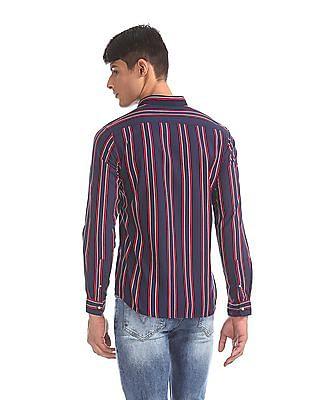 Flying Machine Blue Striped Cotton Shirt