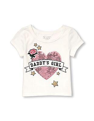 The Children's Place Girls Short Sleeve Embellished Ringer Top