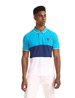 U.S. Polo Assn. Blue Regular Fit Colour Block Polo Shirt