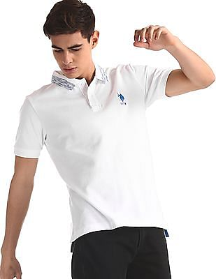 U.S. Polo Assn. White Slim Fit Pique Polo Shirt