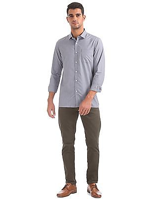 Excalibur Semi-cutaway Collar Patterned Shirt