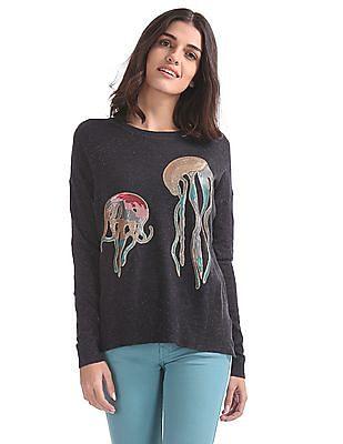 Flying Machine Women Octopus Embellished Flatknit Top